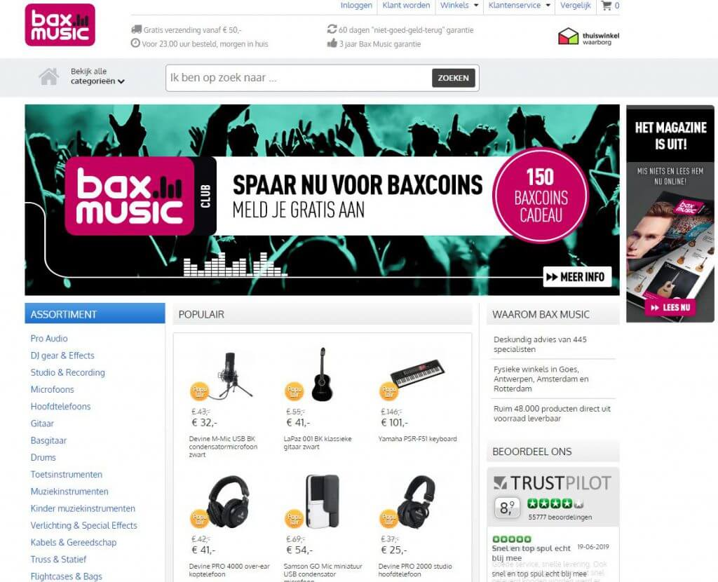 Een screenshot van de website van Bax