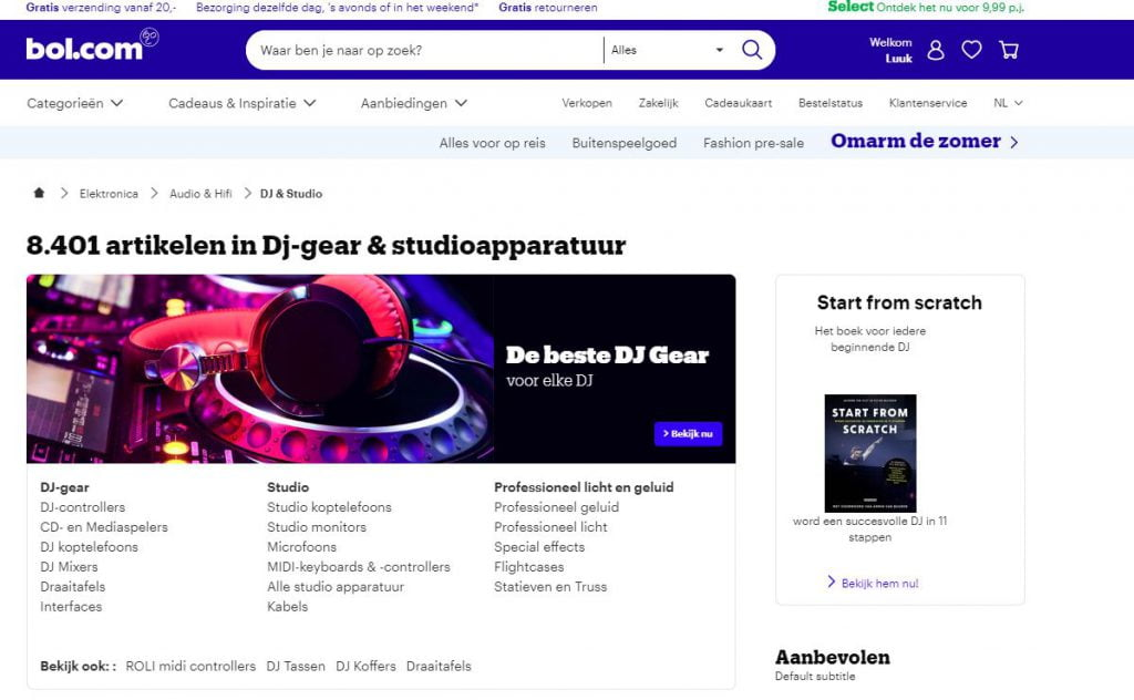 Een screenshot van de website bol.com