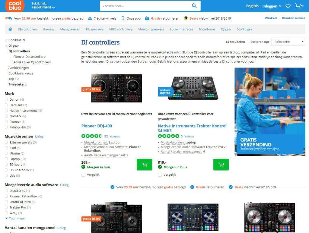 Een screenshot van de website van Coolblue