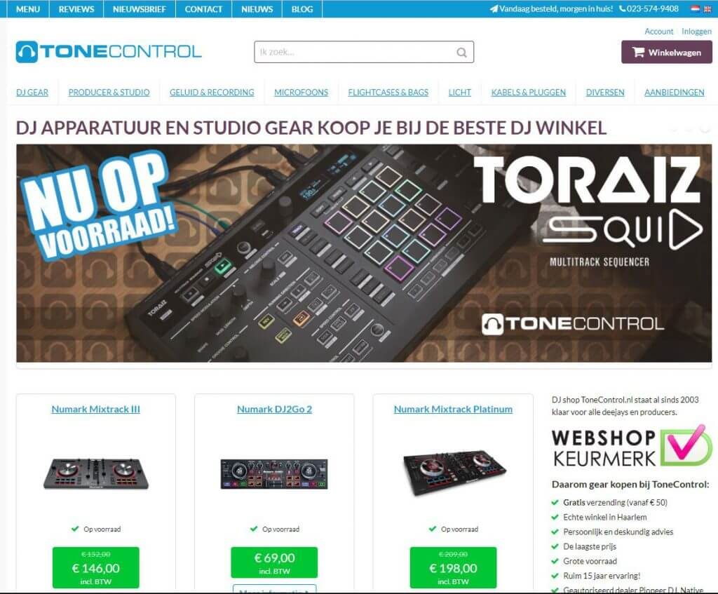Een screenshot van de website van Tonecontrol